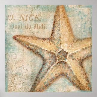 Arte francés de las estrellas de mar del vintage póster