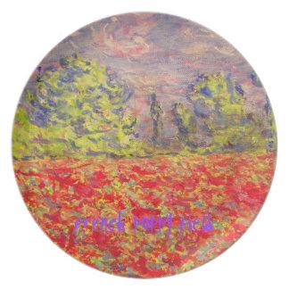 arte francés del campo de la amapola plato de cena