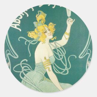 Arte francés Nouveau del victorian de Blanqui del Pegatina Redonda