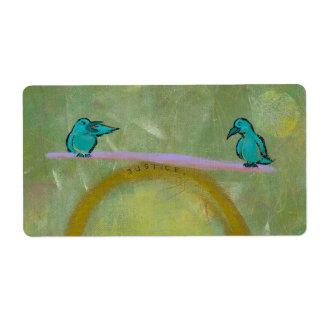 Arte fresco de la justicia de los pájaros de la etiqueta de envío