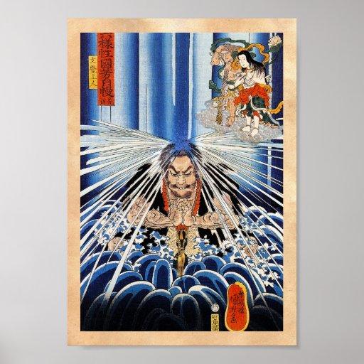 Arte fresco de la meditación de la cascada de Kuni Póster