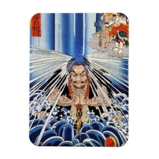 Arte fresco de la meditación de la cascada de Kuni Rectangle Magnet