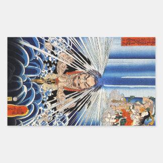 Arte fresco de la meditación de la cascada de pegatina rectangular