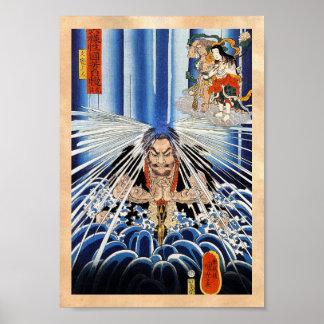 Arte fresco de la meditación de la cascada de póster