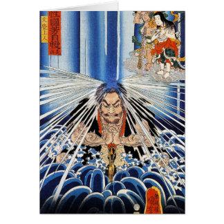 Arte fresco de la meditación de la cascada de tarjeta pequeña