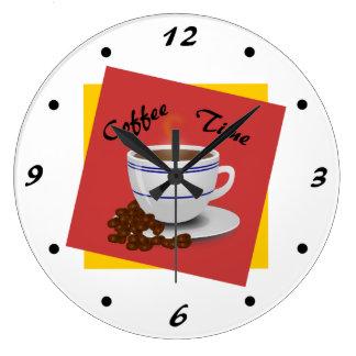 Arte fresco del café del tiempo del café relojes