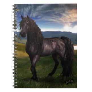 Arte frisio del personalizado del caballo libros de apuntes con espiral