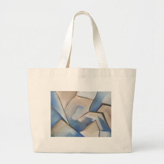 arte geométrico abstracto azul bolsa tela grande