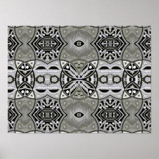 Arte geométrico abstracto contemporáneo tribal póster