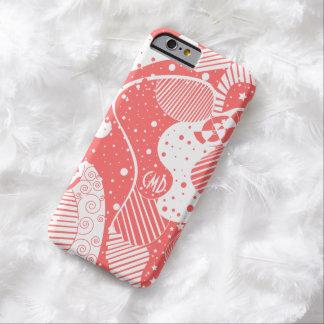 Arte geométrico abstracto rojo coral y blanco funda para iPhone 6 barely there