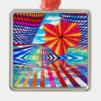 Arte geométrico brillante cósmico del arco iris adorno navideño cuadrado de metal