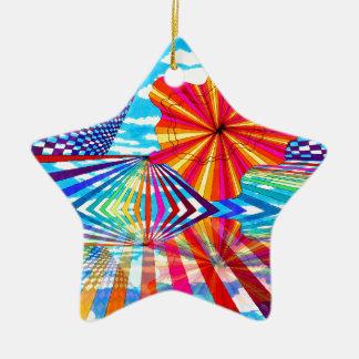 Arte geométrico brillante cósmico del arco iris adorno navideño de cerámica en forma de estrella