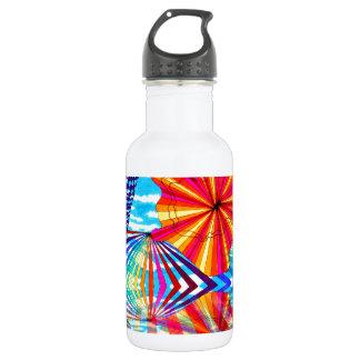 Arte geométrico brillante cósmico del arco iris botella de agua de acero inoxidable