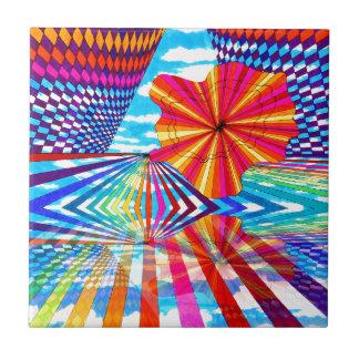 Arte geométrico brillante cósmico del arco iris de tejas