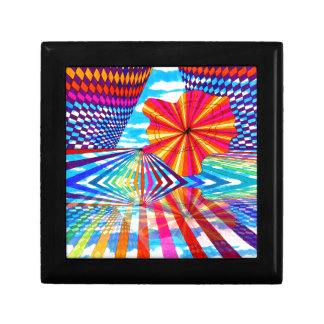 Arte geométrico brillante cósmico del arco iris de cajas de recuerdo