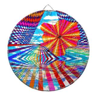 Arte geométrico brillante cósmico del arco iris de tabla dardos
