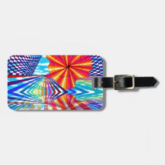 Arte geométrico brillante cósmico del arco iris de etiquetas para equipaje