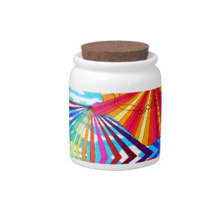 Arte geométrico brillante cósmico del arco iris de platos para caramelos