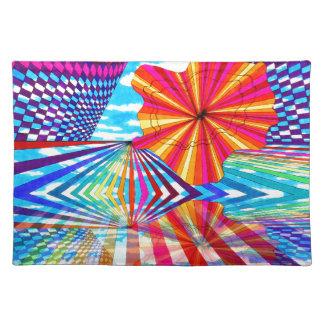 Arte geométrico brillante cósmico del arco iris de mantel