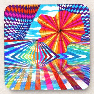 Arte geométrico brillante cósmico del arco iris de posavaso