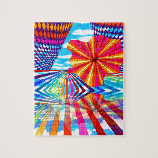 Arte geométrico brillante cósmico del arco iris de puzzles con fotos