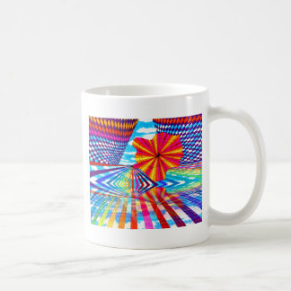 Arte geométrico brillante cósmico del arco iris de tazas de café