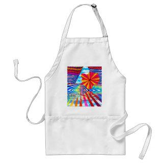 Arte geométrico brillante cósmico del arco iris delantal