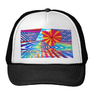 Arte geométrico brillante cósmico del arco iris gorros