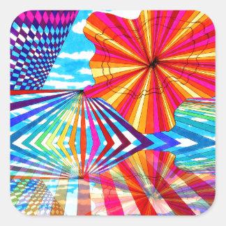 Arte geométrico brillante cósmico del arco iris pegatina cuadrada