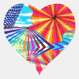 Arte geométrico brillante cósmico del arco iris pegatina en forma de corazón