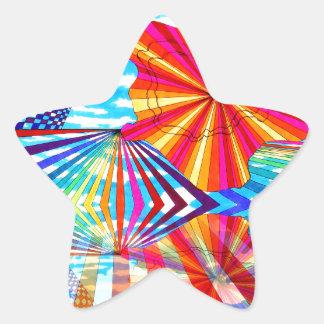 Arte geométrico brillante cósmico del arco iris pegatina en forma de estrella