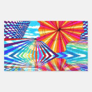 Arte geométrico brillante cósmico del arco iris pegatina rectangular