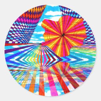 Arte geométrico brillante cósmico del arco iris pegatina redonda