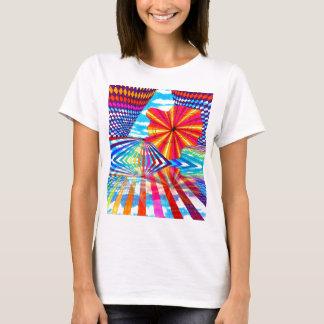 Arte geométrico brillante cósmico del arco iris playera