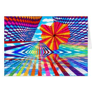 Arte geométrico brillante cósmico del arco iris tarjeta de felicitación
