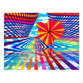 Arte geométrico brillante cósmico del arco iris tarjetas postales