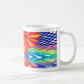 Arte geométrico brillante cósmico del arco iris taza de café