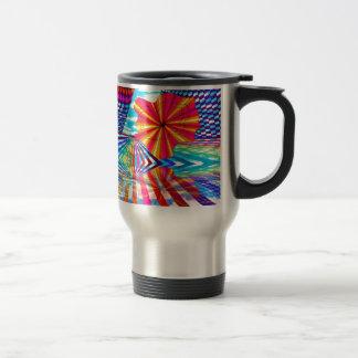 Arte geométrico brillante cósmico del arco iris taza de viaje
