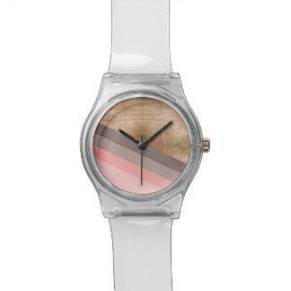 Arte geométrico de madera relojes de pulsera