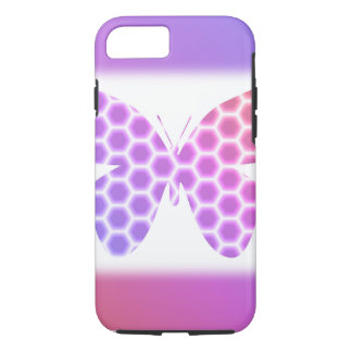 Arte geométrico púrpura de la mariposa del rosa funda iPhone 7