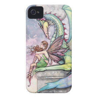 Arte gótico de la fantasía de la hada y del dragón iPhone 4 carcasa