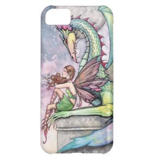 Arte gótico de la fantasía de la hada y del dragón funda iPhone 5C