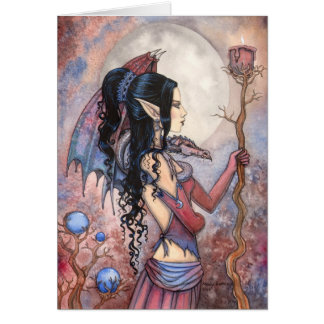 Arte gótico de la fantasía del chica del dragón po felicitacion