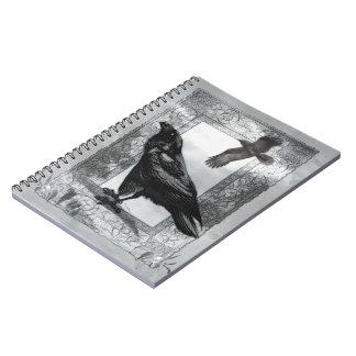 Arte gótico de la fantasía del cuervo del cuaderno