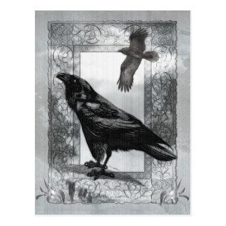 Arte gótico de la fantasía del cuervo del postal