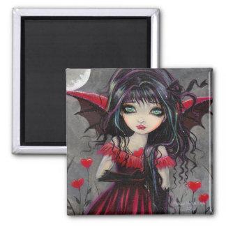 Arte gótico de la hada del vampiro del corazón imán cuadrado