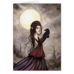 Arte gótico de Wiccan de la bruja y del cuervo de Tarjeta De Felicitación