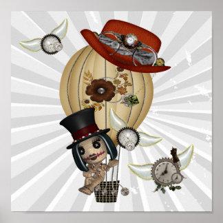 arte gótico del steampunk del globo del aire calie