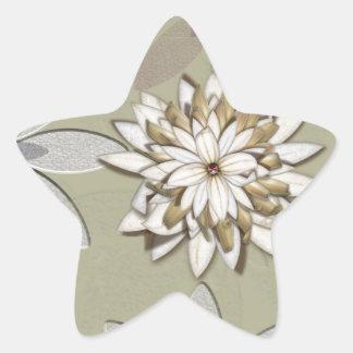 Arte grabado en relieve de las flores pegatina forma de estrella personalizada