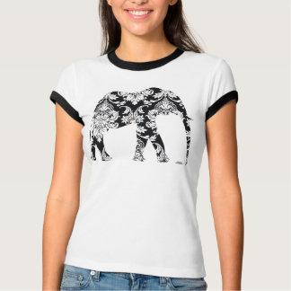 Arte gráfico del damasco del elefante en camiseta playera